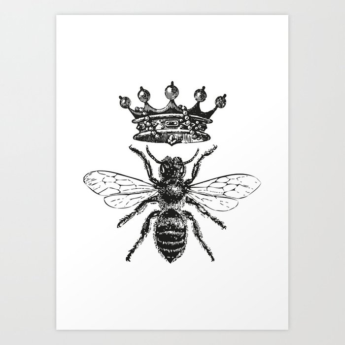 Queen Bee | Vintage Bee with Crown | Black and White | Art Print