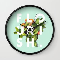 Flourish #society6 #buyart #typography #artprint Wall Clock