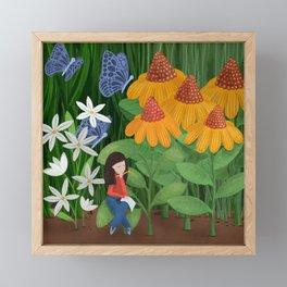 Drawing in he garden Framed Mini Art Print