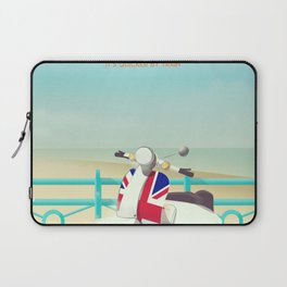 Brighton Union Scooter travel poster, Laptop Sleeve
