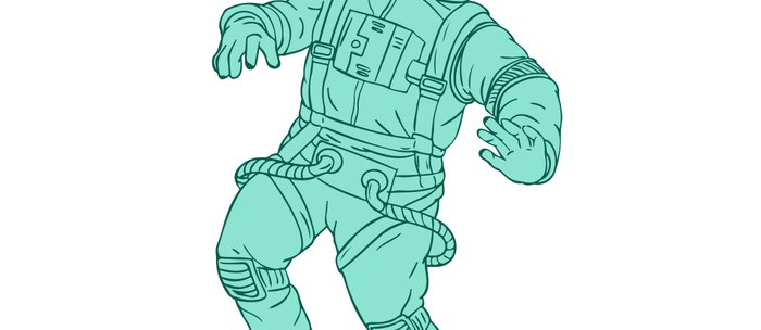 Astronaut Floating in Space Drawing Coffee Mug