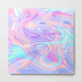 Iridescent Marble Texture Metal Print