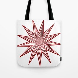 Lucky Thirteen Red and White Starburst Tote Bag