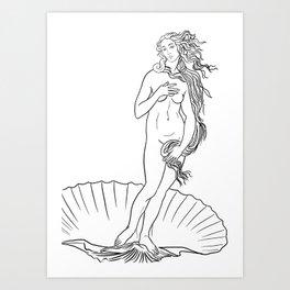The birth of Venus line art Art Print