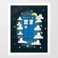 tardis Art Prints featuring blue box by Matthew Taylor Wilson