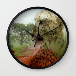 Cheetah In The Wilderness By Annie Zeno  Wall Clock
