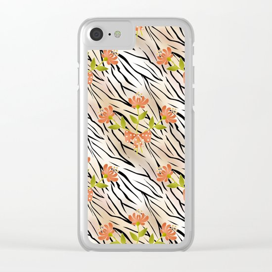 Floral pattern on a tiger background . Clear iPhone Case