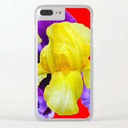 RED COLOR YELLOW-PURPLE PANSY ART Clear iPhone Case