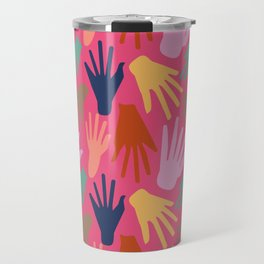 Minimalist Hands in Coral Travel Mug
