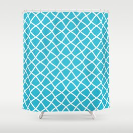 Sky blue and white curved grid pattern Shower Curtain