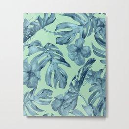 Tropical Leaves and Flowers Luxe Ocean Teal Blue Pastel Green Metal Print