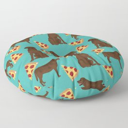 chocolate lab pizza dog breed pet portrait gifts for labrador retriever lovers Floor Pillow