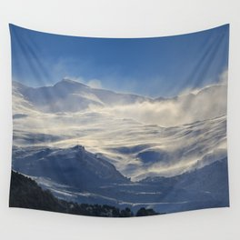 """""""Brave mountains"""". Into the windy storm Wall Tapestry"""