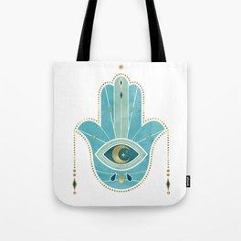 Hamsa Hand Teal Version Tote Bag