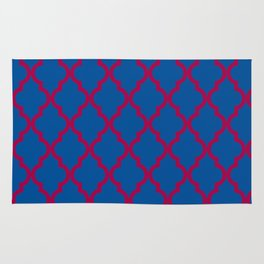 Moroccan Quatrefoil Pattern: Red & Blue Rug