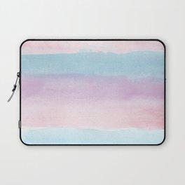 Modern blush pink teal color block watercolor brushstrokes stripes Laptop Sleeve