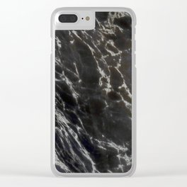 MIDNIGHT BLACK MARBLE Clear iPhone Case