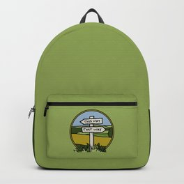 Signpost at a crossroads Backpack