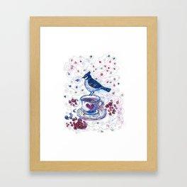 Winter Tea (Ble Jay) Framed Art Print