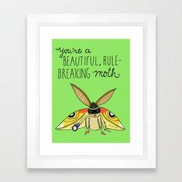Leslie Knope Compliments: Rule-Breaking Moth Framed Art Print