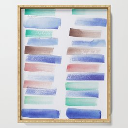 22  | 181101 Watercolour Palette Abstract Art | Lines | Stripes | Serving Tray