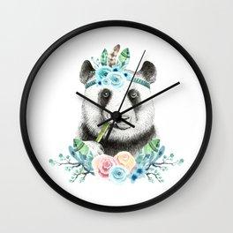 Watercolor Floral Spray Boho Panda Wall Clock