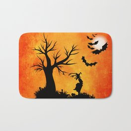 Halloween Bat Night Bath Mat