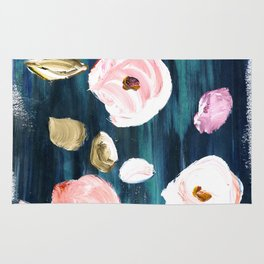 Blushy Blooms on Jade Rug
