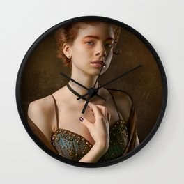 Girl with a Pearl Necklace Wall Clock