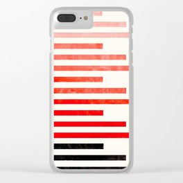 Red Orange Minimalist Abstract Mid Century Modern Staggered Thin Stripes Watercolor Painting Clear iPhone Case