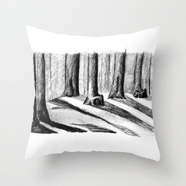 Trees Casting Shadows in the Woods Throw Pillow