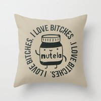 nutella Throw Pillows featuring Inappropriate Nutella by Agustin Flowalistik
