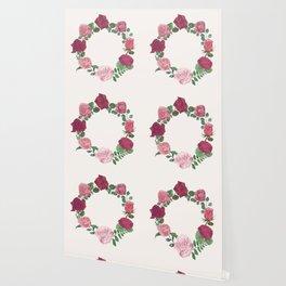 Pink Floral Wreath Wallpaper
