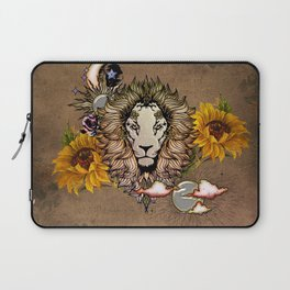 Awesome lion with flowers Laptop Sleeve