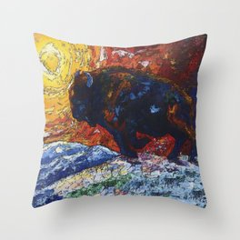 Wild the Storm Bison Painting by OLena Art Throw Pillow