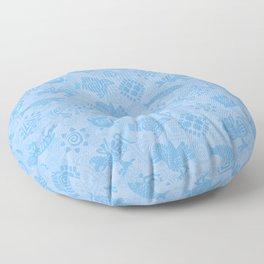 Polynesian Symbols in Mod Blue Floor Pillow