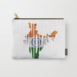 India World Map / Indian Typography Flag Map Art Carry-All Pouch