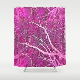 Interconnected Paths (hot magenta-pink) Shower Curtain