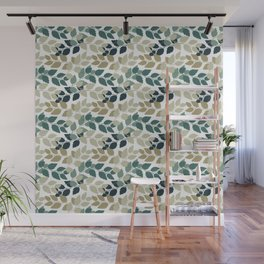 Twigs with leaves. Seamless pattern. Turkuoise and beige Wall Mural