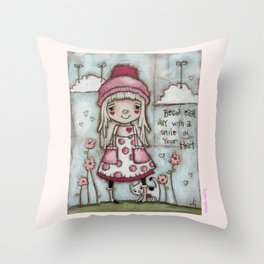 Happy Heart - Motivational Art for Girls Throw Pillow