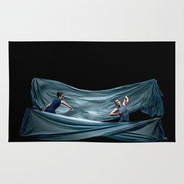 Dancing in rough blue waters Rug