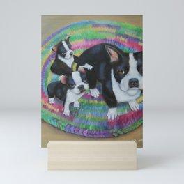 Boston Terrier and Puppies Mini Art Print