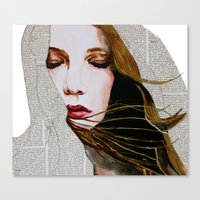 literary Canvas Prints featuring Literary Girl by Charlotte Massey