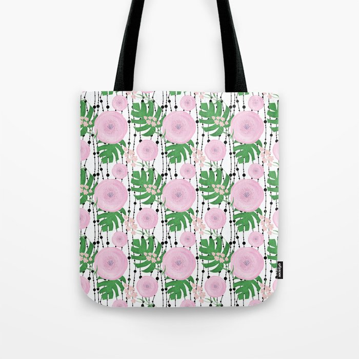 Pink flowers on a white background with black beads. Tote Bag