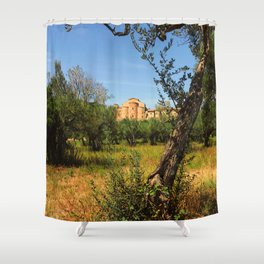 Italy, olive trees and an ancient abbey Shower Curtain