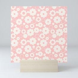 White flowers over pink Mini Art Print