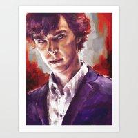 sherlock holmes Art Prints featuring Sherlock Holmes by Alice X. Zhang