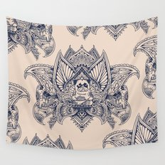 Lotus Mandala Pug Wall Tapestry