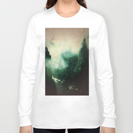 Morning dust on Mountains - Forest Wood Tree Long Sleeve T-shirt