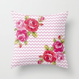 Roses on geometric pattern Throw Pillow